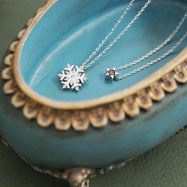 星&雪の結晶 ネックレス セット シルバー925の画像1枚目