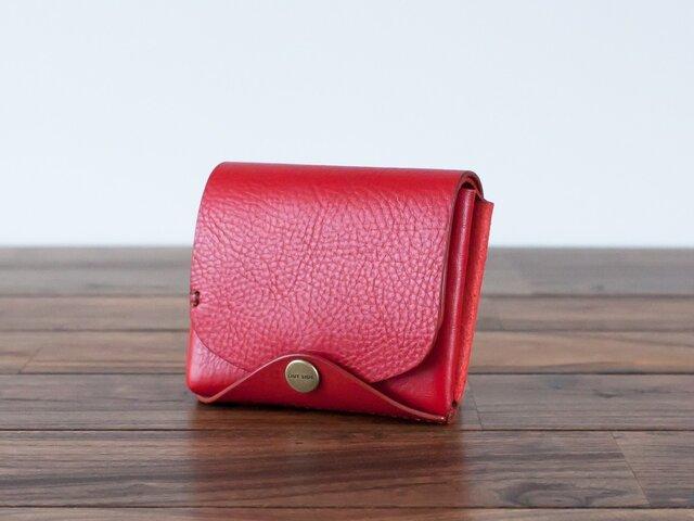 イタリア製牛革の二つ折り財布3 / レッド※受注製作の画像1枚目