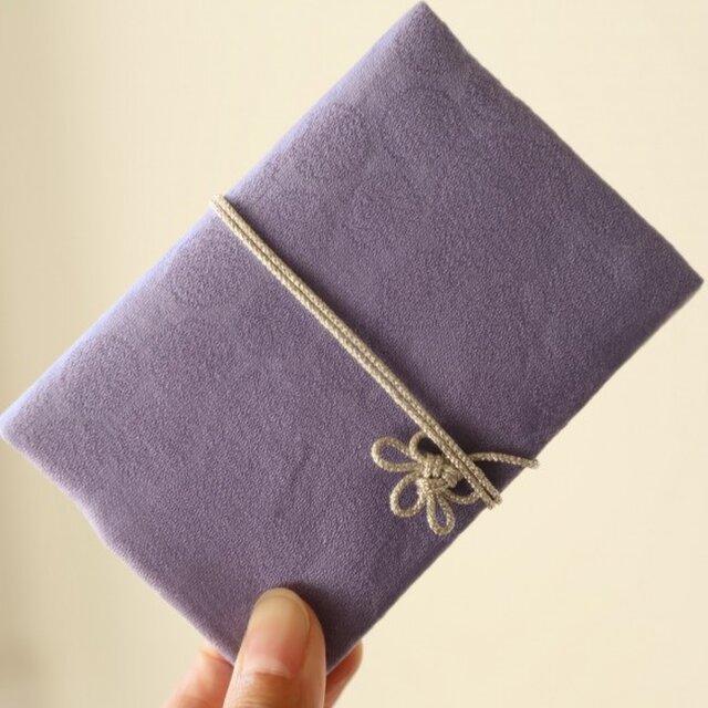 点文×紫色 きものカードケース(梅結びの紐付)の画像1枚目