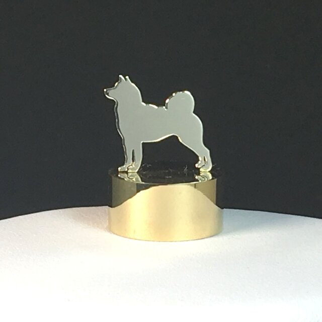 Paper Weight Dog-26 SV+Brass ペーパーウエイト 柴犬<受注制作>の画像1枚目