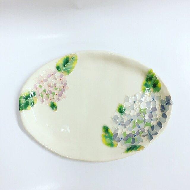 新作 紫陽花のパステルカラー楕円皿の画像1枚目