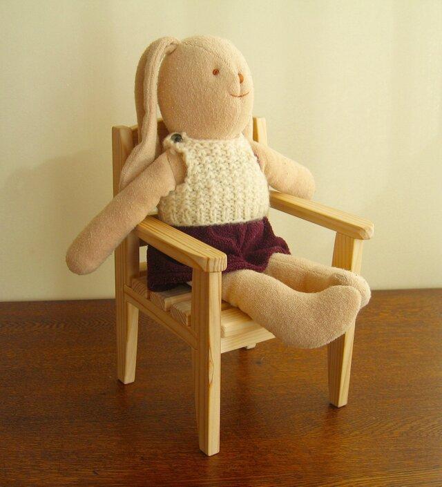 お人形の椅子・・30cmくらいまでのお人形に・・ナチュラル仕上げの画像1枚目