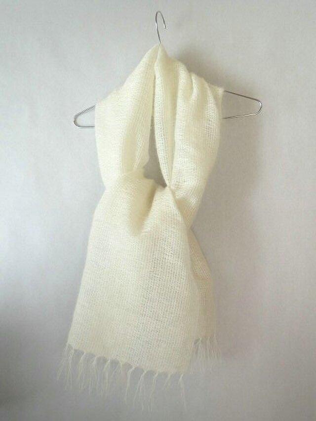 手織り 真っ白のモヘアのストール(1)の画像1枚目