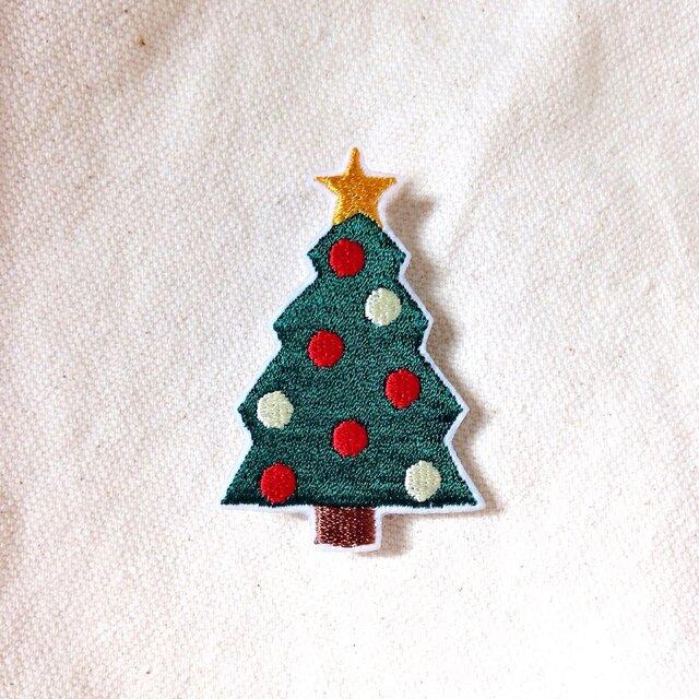 刺繍ブローチ 「クリスマスツリー」の画像1枚目