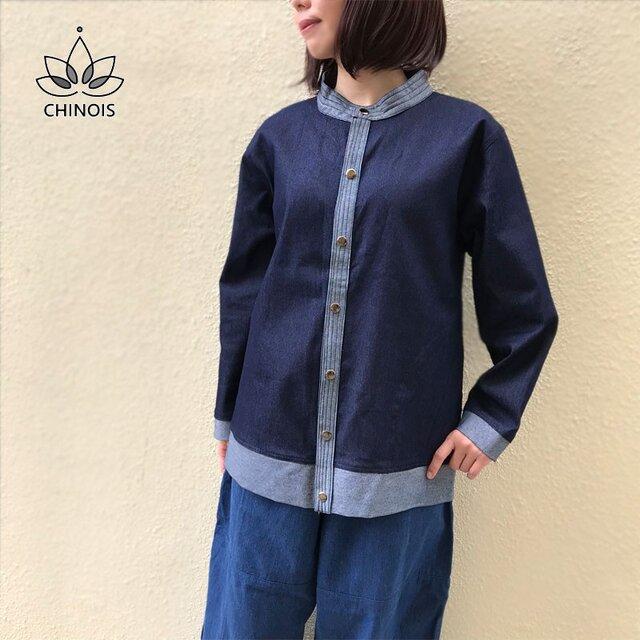 ソフトデニムの長袖ジャケット、ストレッチ素材、ゆったりデザイン、DJ71の画像1枚目
