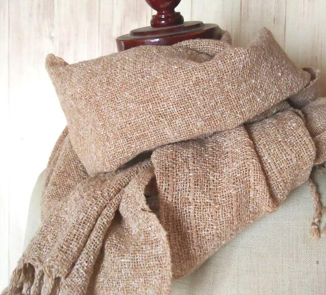 手織り 上質真綿ネップ シルクストール 216の画像1枚目