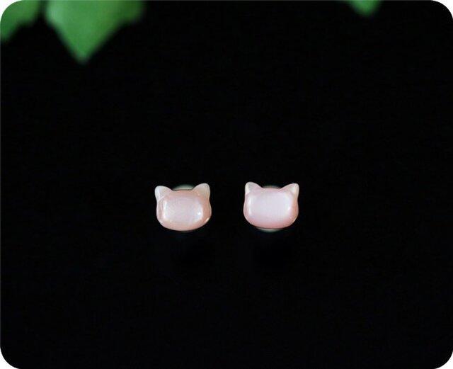 ピンクマザーオブパール ピンク蝶貝のネコピアス/イヤリング変更可 1ペアの画像1枚目
