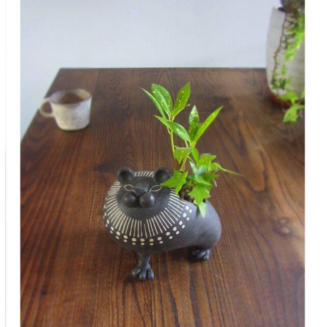 動物植木鉢 ライオン/黒(大)の画像1枚目