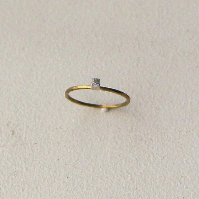 真鍮リング 銀の立方の画像1枚目