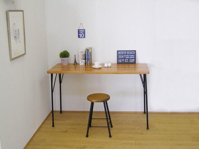 *ナチュラル*天然杉の古材とアイアン(鉄)脚で作ったカフェ風カウンターテーブル・作業台の画像1枚目