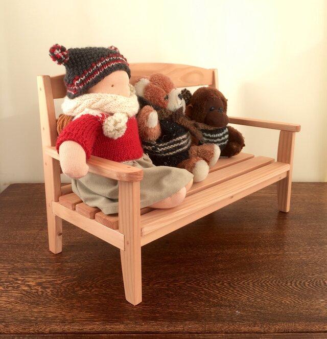 お人形のベンチ(座面内寸38cm)・・サイズオーダー可能です。の画像1枚目