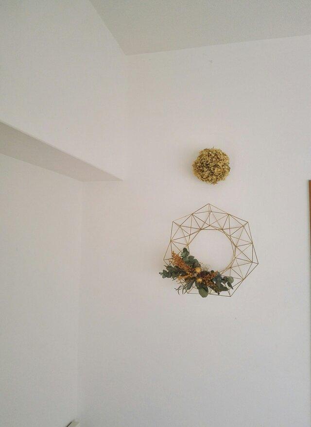 北欧インテリア「真鍮製のヒンメリ リース M (直径25cm)お花付き」【受注制作】の画像1枚目