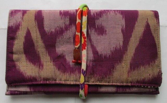送料無料 銘仙の着物で作った和風財布・ポーチ 3101の画像1枚目