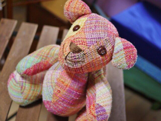 手織り テディベアLの画像1枚目