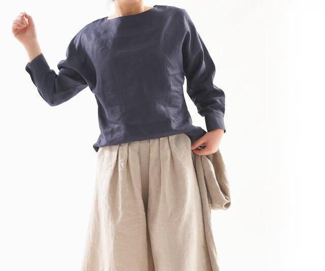 【wafu】中厚 リネン チュニック ブラウス カフスシャツ袖 ドルマンスリーブ トップス / ネイビー t002a-neb2の画像1枚目