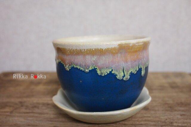 植木鉢受け皿セット【藍色】の画像1枚目