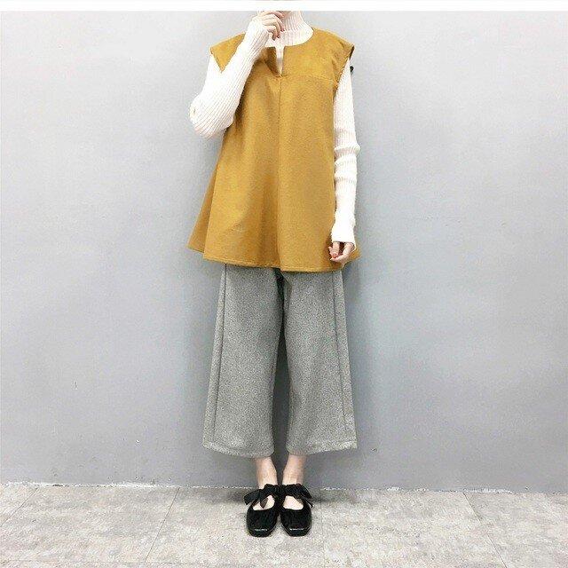 ★en-enウール混紡サーキュラーベスト・マスタード(羊毛、冬、新作)の画像1枚目