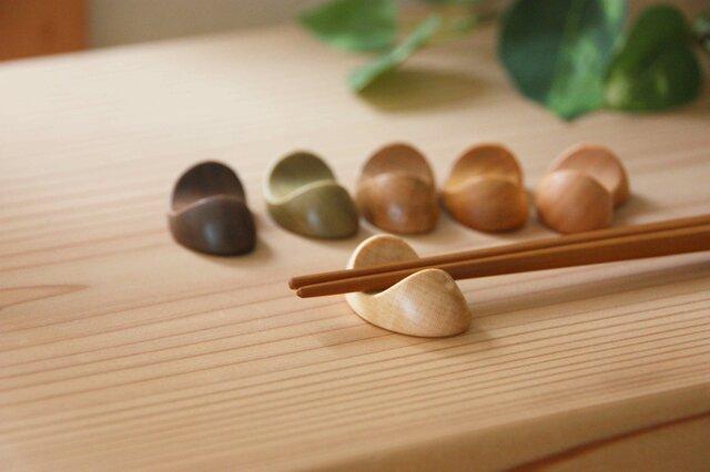 木の箸置き 豆形 ミニサイズ 木の種類いろいろ『6個』セットの画像1枚目