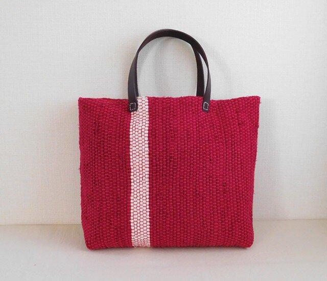 裂き織りバッグ 赤+白ラインの画像1枚目