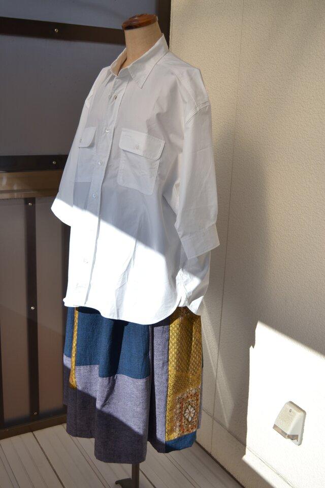着物リメイク 紬のぜいたくなパッチワーク J-11の画像1枚目