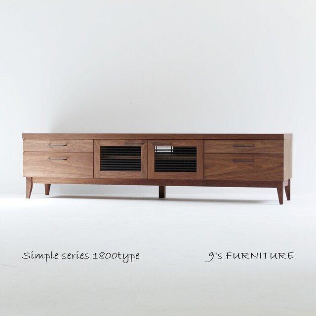 幅180cm テレビボード TV180-3-2 ウォルナット突板&無垢の画像1枚目