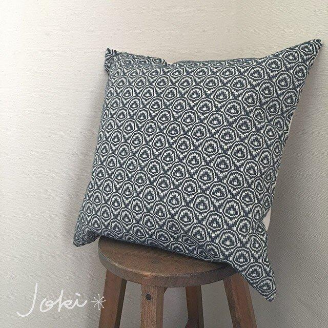 cushion cover[手織りクッションカバー] ネイビーの画像1枚目