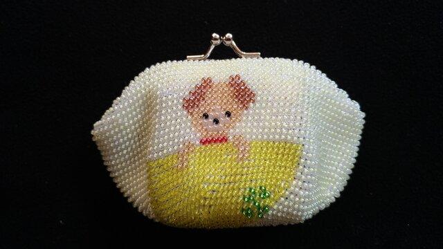 ビーズ編みがま口財布 子犬柄の画像1枚目