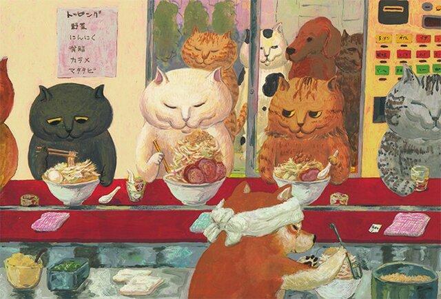 カマノレイコ オリジナル猫ポストカード「ラーメン屋さん」2枚セットの画像1枚目