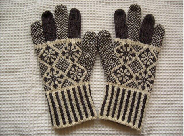 ◆◇花と雪模様の編み込み手袋◇◆(アンスラサイト)の画像1枚目