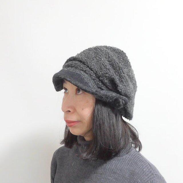 くったりしたドレープのよったニット帽テイストのキャスケット。ドレープキャスケット【PL1419-CGY】の画像1枚目