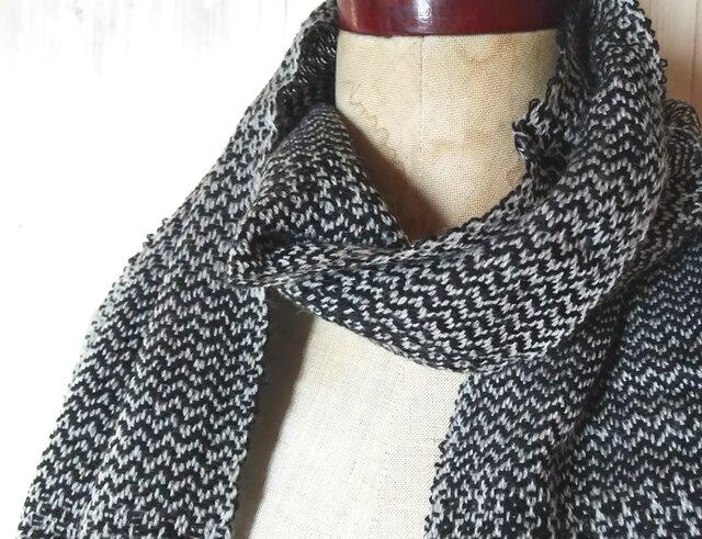 手織り 綾織りカシミヤマフラー   325の画像1枚目