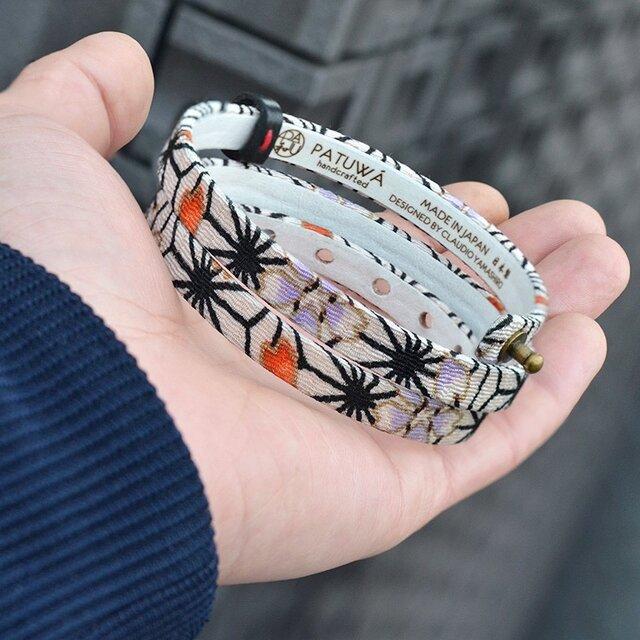和風ブレスレット  麻の葉 しろ  レザー 3連  Triple braceletの画像1枚目