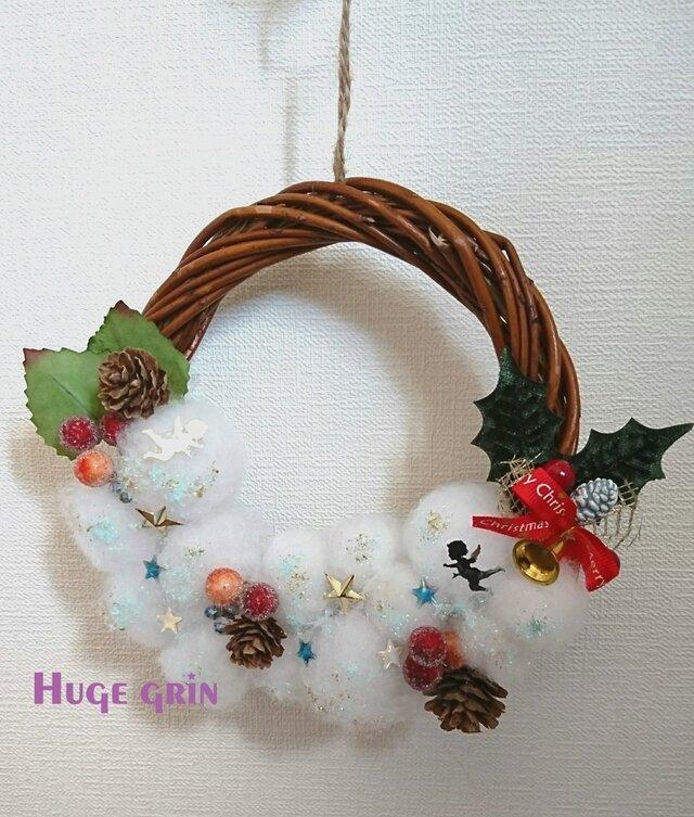 ホワイトクリスマスリースの画像1枚目