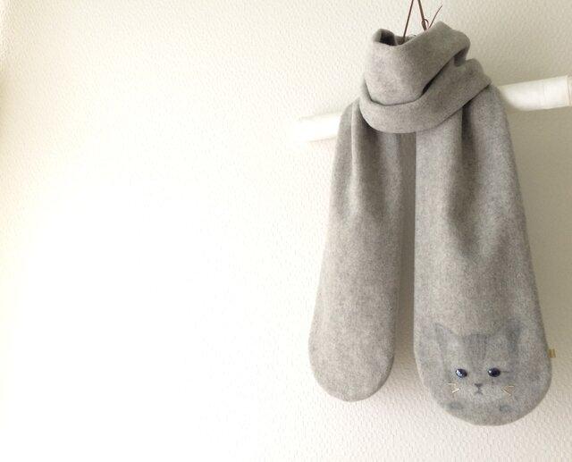 暖かウール 隠れ子ねこマフラー  の画像1枚目