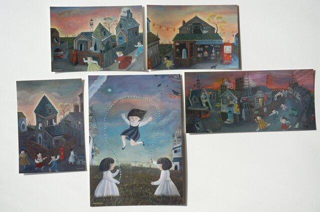 夕暮れノスタルジーカード×5枚セット(アクリル画)の画像1枚目