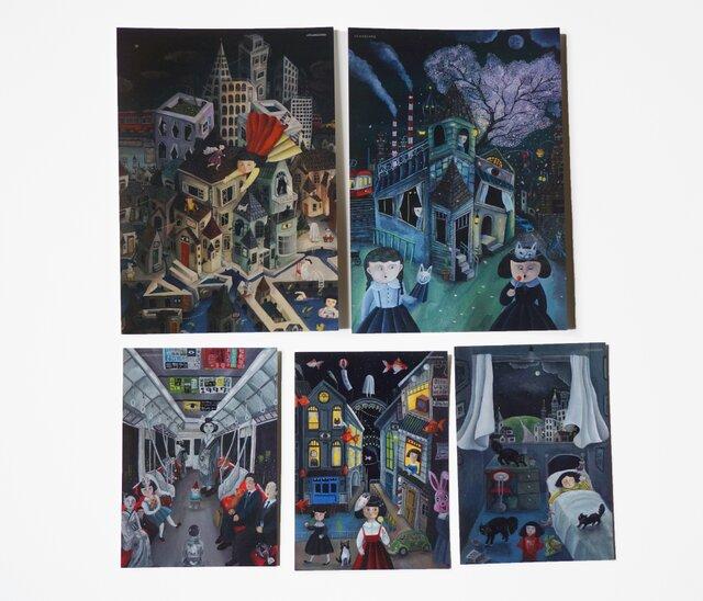 夜の風景カード×5枚セット(アクリル画)の画像1枚目