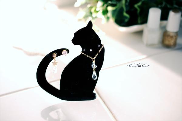 黒猫1のアクセサリー掛け ジュエリーセット(ピアス/ネックレス)イベント什器や、ジュエリーを飾ってプレゼントにもどうぞ♪の画像1枚目