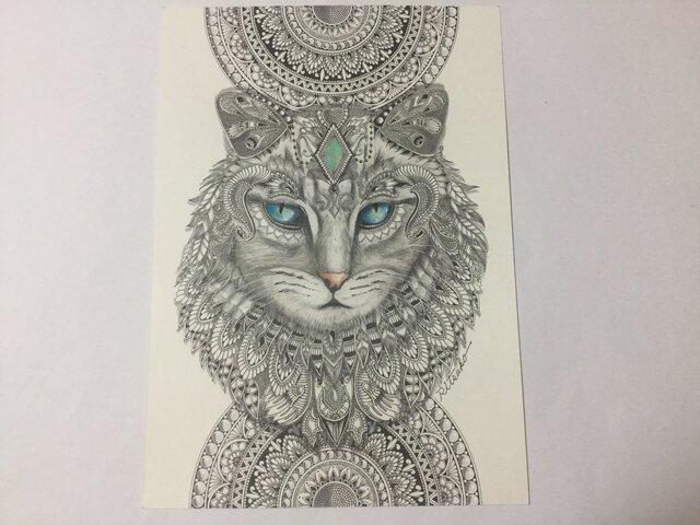 原画 肉筆 一点もの ボールペンアート  ネコ 猫 ねこ  百貨店作家 人気 ボールペン画 絵画の画像1枚目