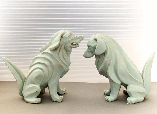 陶塑 2018年「干支(戌)」作品 レトリバー 阿吽(あうん)狛犬 限定2点セットの画像1枚目