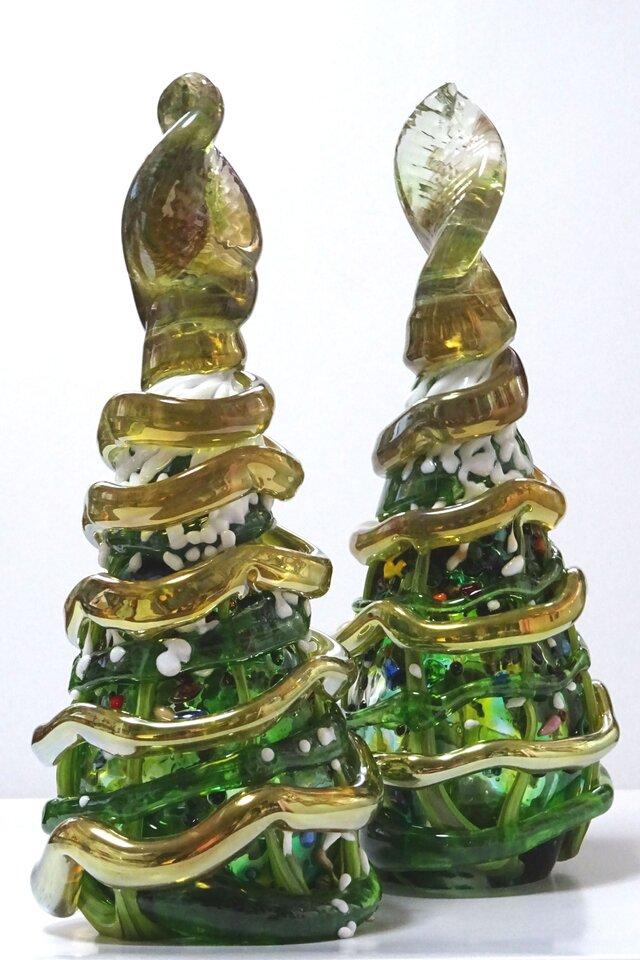 ガラスのクリスマスツリー/ミックスカラー/テーブルツリー/#クリスマスの画像1枚目