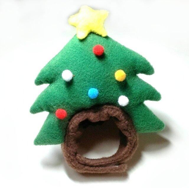 クリスマスツリーの帽子(赤)【S/M/L】の画像1枚目