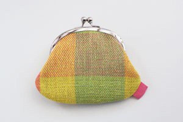 手織りリネン がま口の画像1枚目