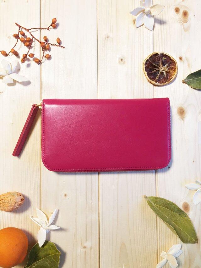 姫路カラーレザーシリーズ《ピンク》長財布の画像1枚目