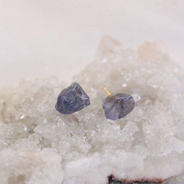 Rough Rock Tanzanite pierced earrings タンザナイトの原石ピアスK18 Cの画像1枚目