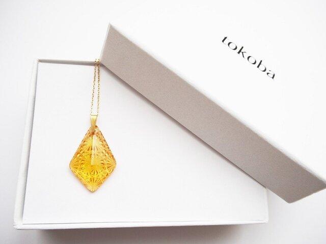tokoba ピラミッド・ネックレス アンバー菊つなぎの画像1枚目