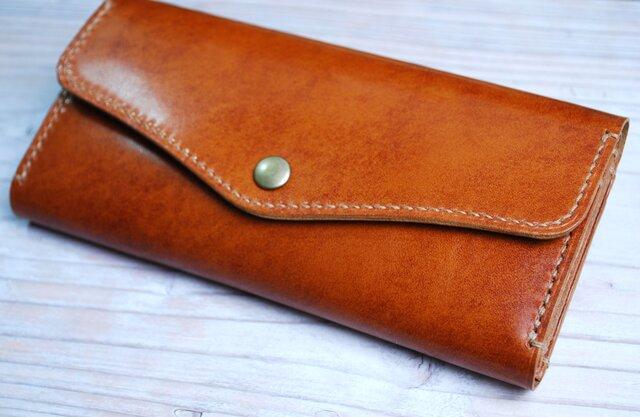 [送料無料] 手縫いの軽くて丈夫な高級アンティークレザー長財布がばっとコイン入れCAの画像1枚目