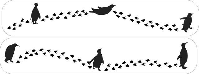 falcon様 専用 ペンギンと肉球あしあと ペンケース(ウォールナット)の画像1枚目
