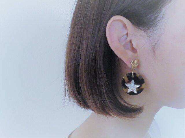 レオパード&スターピアス vintage pierced earrings leopard <PE-LPst>の画像1枚目