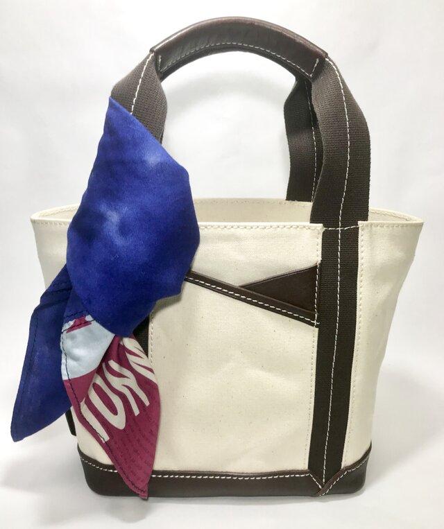 パラフィンキャンバス×本革 スカーフ(ブルーxピンク)ミニトートバッグ の画像1枚目