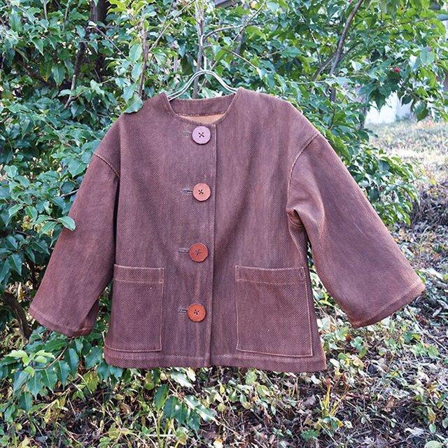 大きなボタンの柿渋染めレディース 柔道着 刺し子のジャケットの画像1枚目